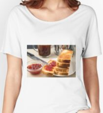 Plate with fried slices of bread for breakfast Women's Relaxed Fit T-Shirt