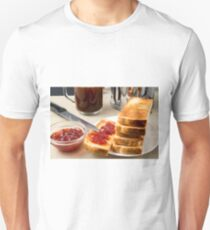Plate with fried slices of bread for breakfast Unisex T-Shirt