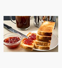 Plate with fried slices of bread for breakfast Photographic Print