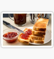 Plate with fried slices of bread for breakfast Sticker