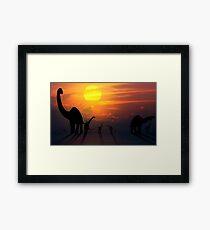 Sauropod Dinosaurs at Sunset Framed Print