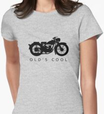 Old's Cool - Vintage Motorcycle Silhouette (Black) Fitted T-Shirt