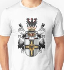Teutonic Order - Coat of Arms over White Leather Unisex T-Shirt