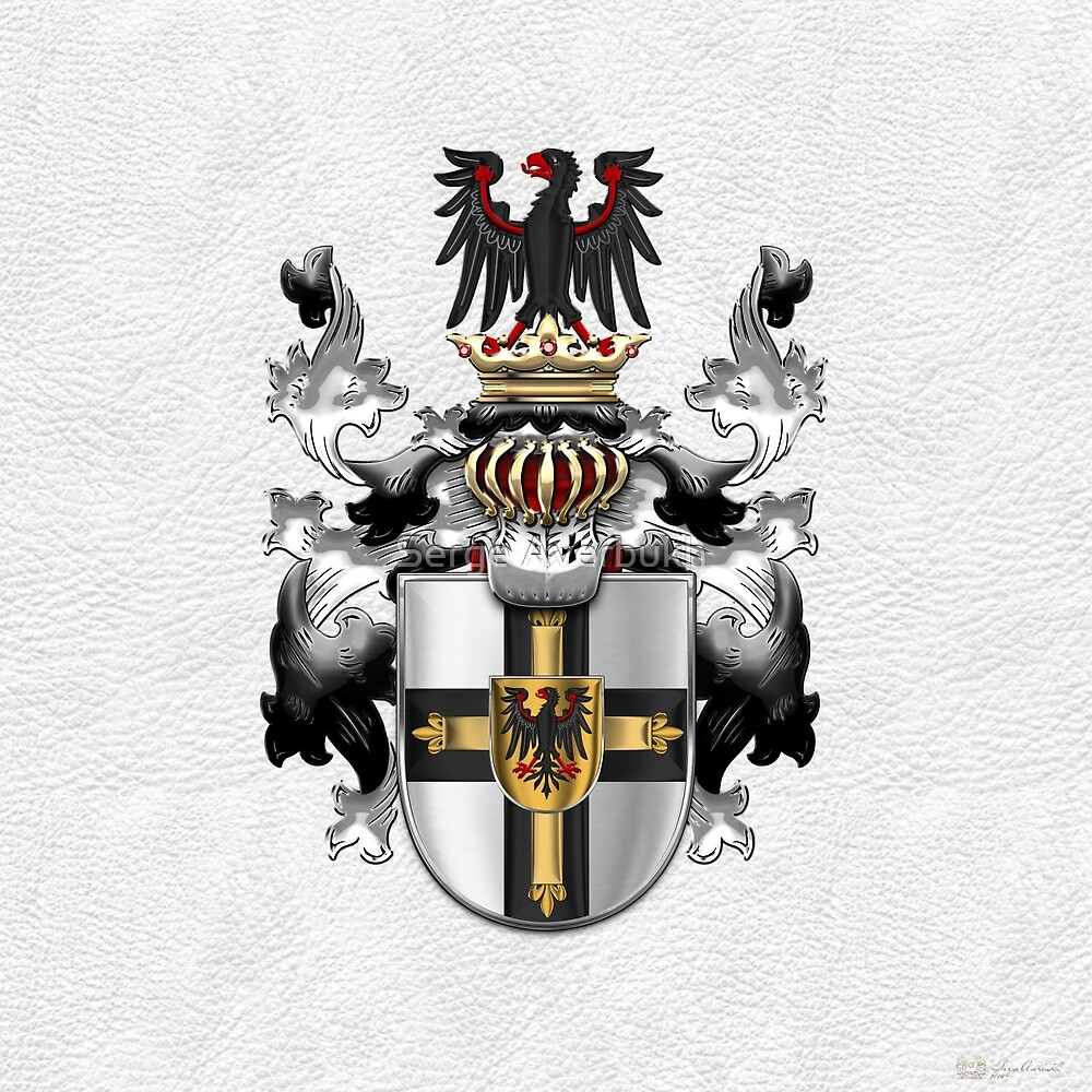 Teutonic Order - Coat of Arms over White Leather by Serge Averbukh