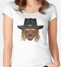 Future Emoji wearing Hat and Sunglasses Women's Fitted Scoop T-Shirt