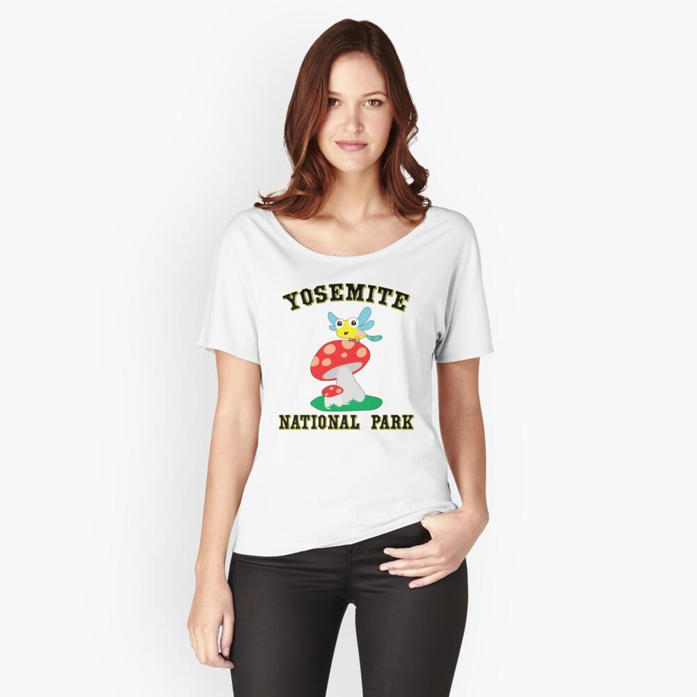 YOSEMITE NATIONAL PARK CALIFORNIA CUTE BUG MUSHROOMS HIKING CAMPING HIKE CAMP  Women's Relaxed Fit T-Shirt Front