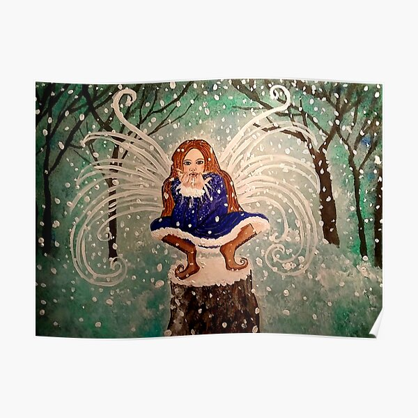 Blowing Christmas Wishes & Kisses - Holiday Winter Snow Fairy Art Poster