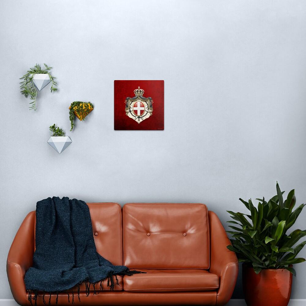 Sovereign Military Order of Malta Coat of Arms over Red Velvet Metal Print