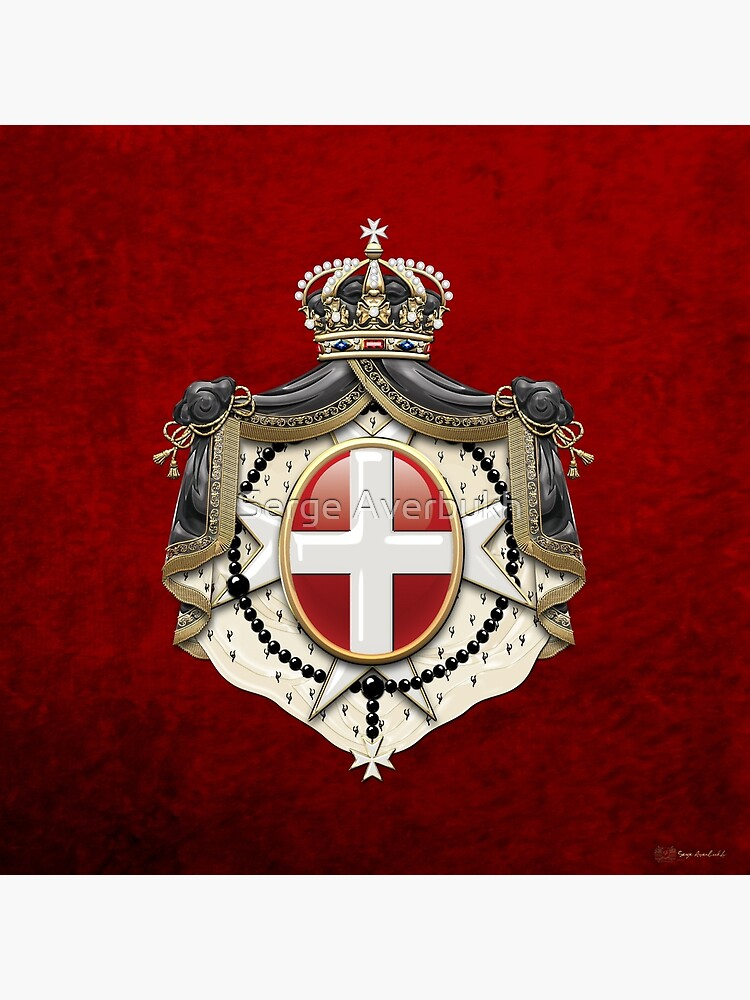 Sovereign Military Order of Malta Coat of Arms over Red Velvet by Captain7