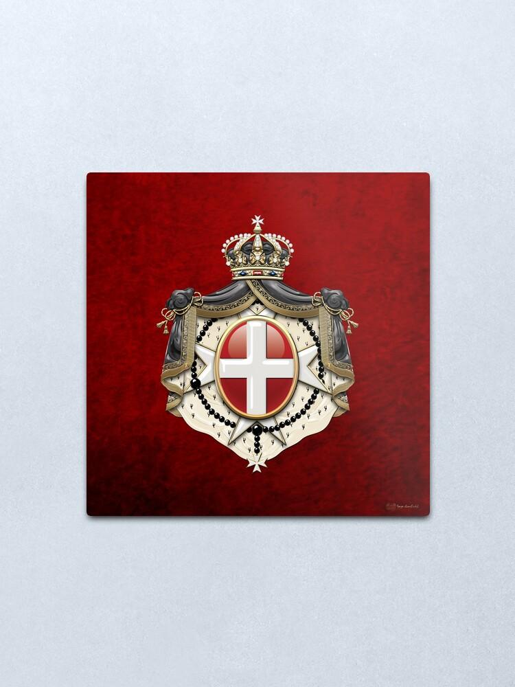 Alternate view of Sovereign Military Order of Malta Coat of Arms over Red Velvet Metal Print