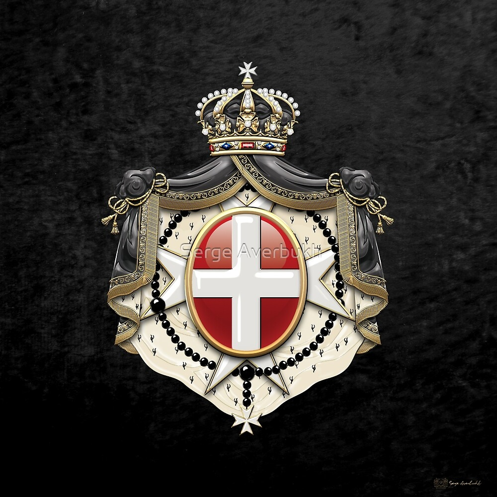Sovereign Military Order of Malta Coat of Arms over Black Velvet by Serge Averbukh