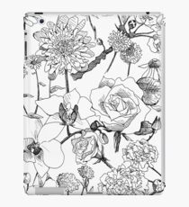 Black and White Floral iPad Case/Skin