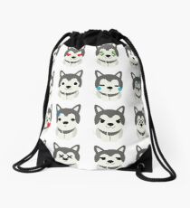 Siberian Husky Emoji Different Face Emotion Drawstring Bag