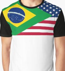 Brasileiro American Flag Graphic T-Shirt