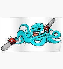 Chainsaw Octopus Color Poster