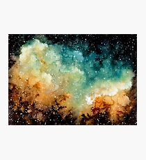 Watercolor Bright Yellow Nebula Photographic Print