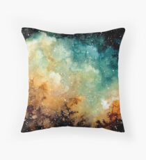 Watercolor Bright Yellow Nebula Throw Pillow
