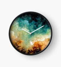 Watercolor Bright Yellow Nebula Clock