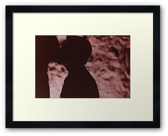 Gay wedding grooms kiss silhouette black and white film handmade ra-4 print fine art analog wedding photo by edwardolive