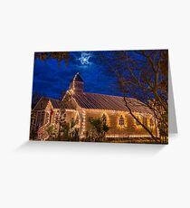 Little Village Church at Christmas with Star from Heaven Greeting Card