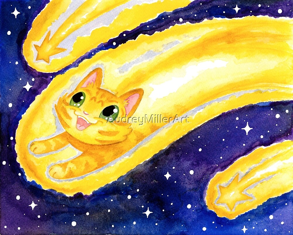 Shooting Star Kitty by AudreyMillerArt