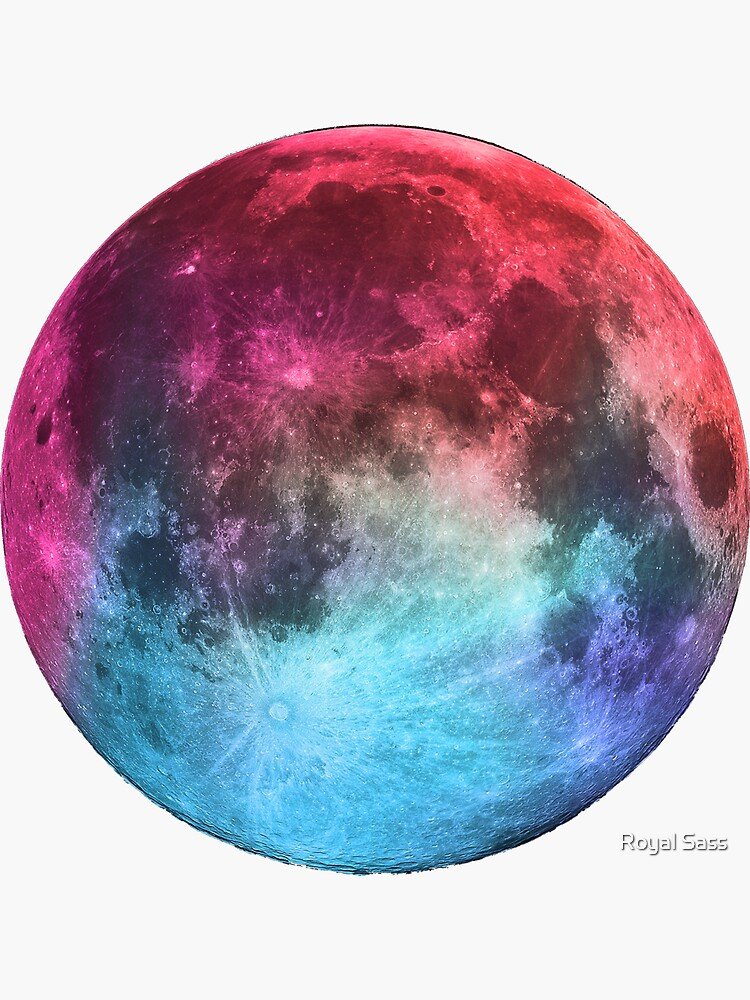 Rainbow Holographic Moon by theroyalsass