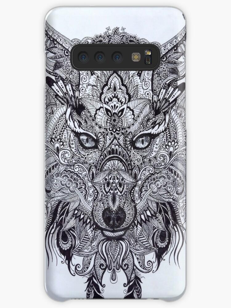 'Zentagle Ornate Mandala Wolf Fox Spirit Animal Design' Case/Skin for  Samsung Galaxy by LittleFatRat
