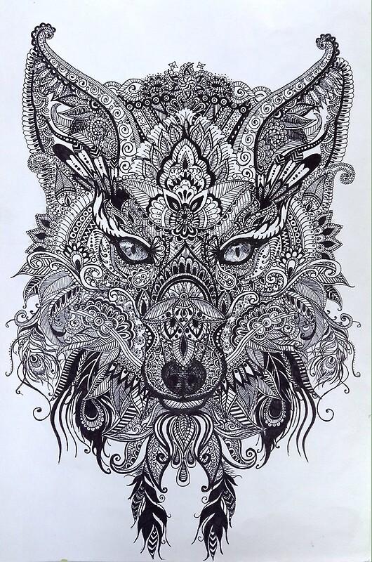 Quot Zentagle Ornate Mandala Wolf Fox Spirit Animal Design Quot Posters By Littlefatrat Redbubble