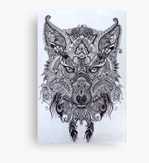 Zentagle Ornate Mandala Wolf Fox Spirit Animal Design Canvas Print