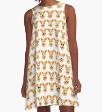 Chihuahua Emoji Different Facial Expression A-Line Dress