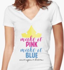 Make it Pink, Make it Blue by Last Petal Tees Women's Fitted V-Neck T-Shirt