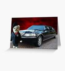 Teddy Bear Limousine Chauffeur Card/Picture Greeting Card