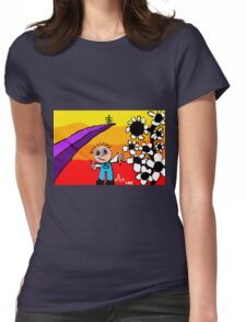 sunset on the horizon boy flowers tree Womens Fitted T-Shirt
