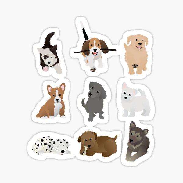 puppies (blue) Sticker