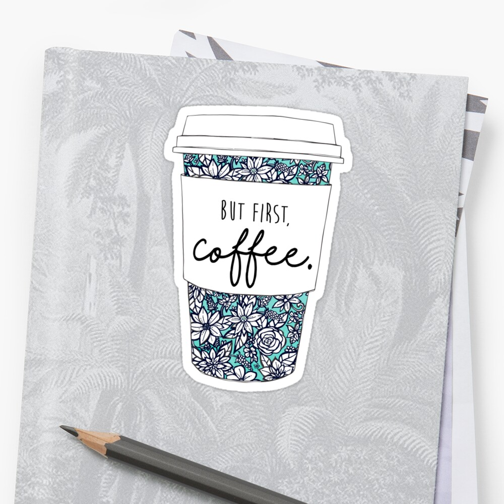 Floral Coffee Sticker Front