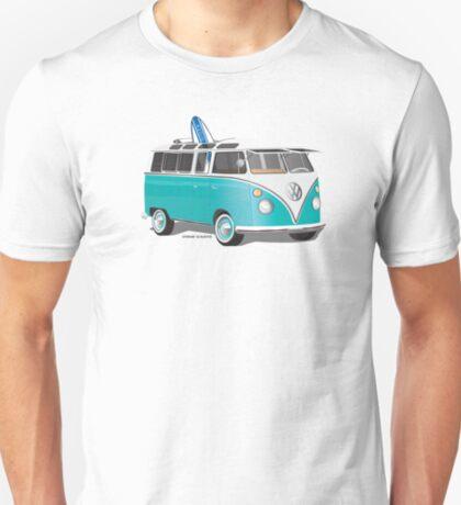 Split VW Bus Teal with Surfboard Hippie Van T-Shirt