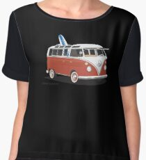 23 Window Split VW Bus Red with Surfboard Peace Chiffon Top