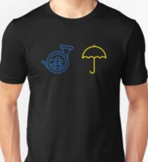 Blue French Horn Vs. Yellow Umbrella Unisex T-Shirt