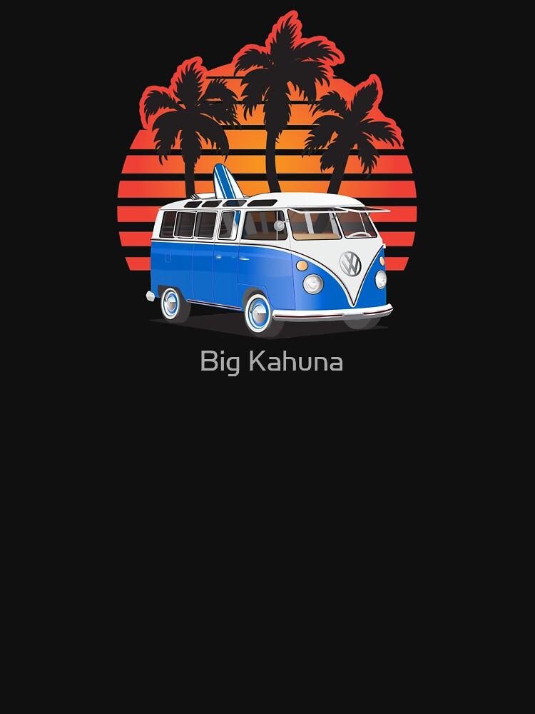 Hippie VW Split Window Bus w Surfboard & Palmes | Unisex T-Shirt