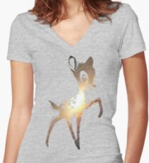 Space Bambi | Leo Women's Fitted V-Neck T-Shirt