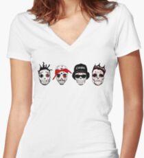 RIP MCs - Gangsta Rapper Sugar Skulls Women's Fitted V-Neck T-Shirt