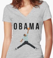 Obama Basketball Mashup Women's Fitted V-Neck T-Shirt
