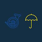 Blue French Horn Vs. Yellow Umbrella by Articles & Anecdotes