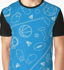 Seamless pattern on the sports theme. Vector illustration sports and fitness equipment.  Graphic T-Shirt