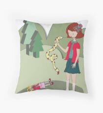 Girl with a snake Throw Pillow