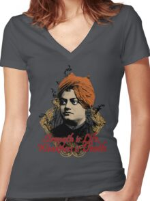 Indian Hindu Monk - Swami Vivekananda Women's Fitted V-Neck T-Shirt