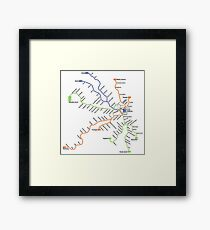 Geographically accurate subway map of Stockholm Framed Print