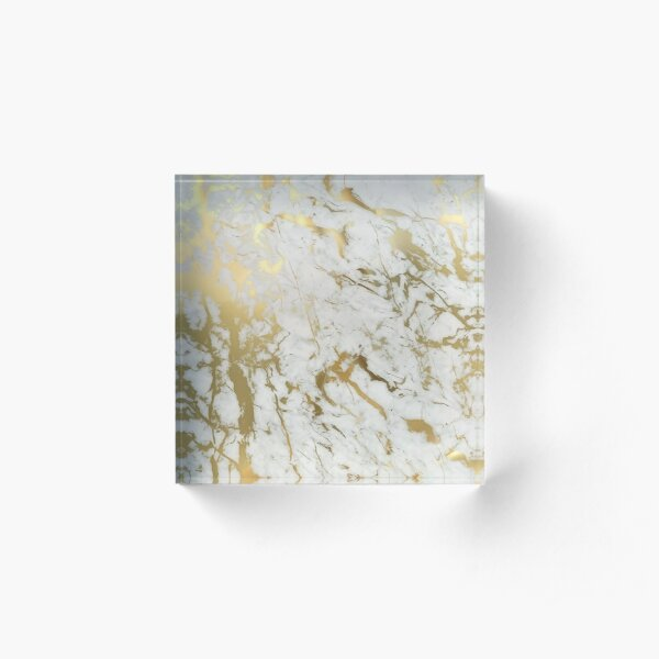 Gold marble on white (original height quality print) Acrylic Block