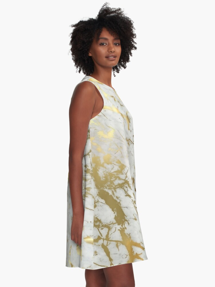 Alternate view of Gold marble on white (original height quality print) A-Line Dress