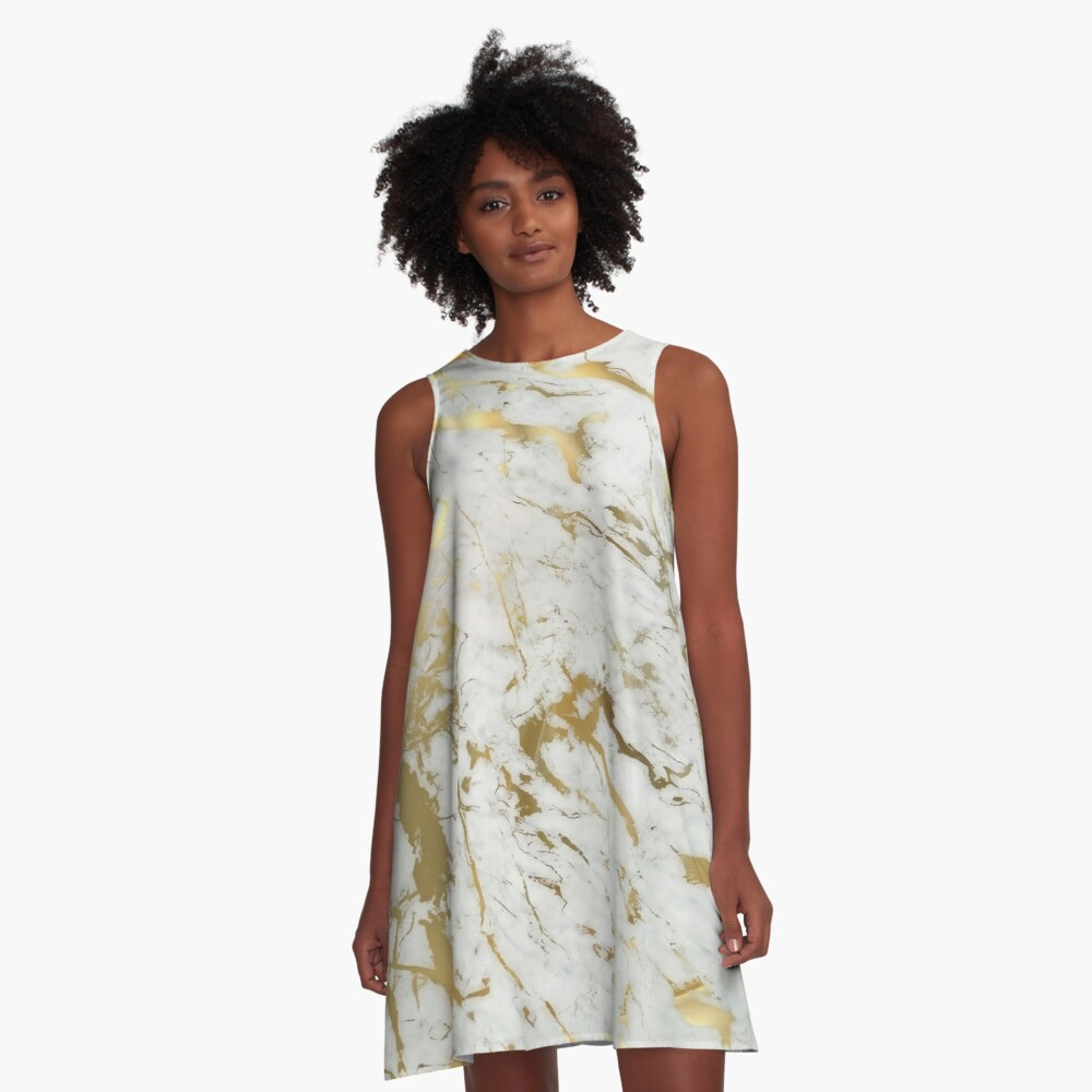 Gold marble on white (original height quality print) A-Line Dress